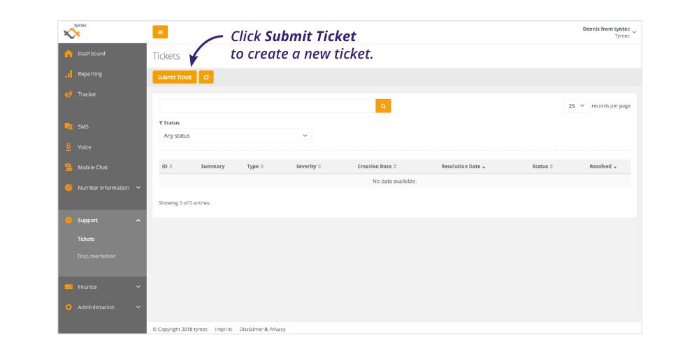 tyntec dashboard screenshot submit ticket