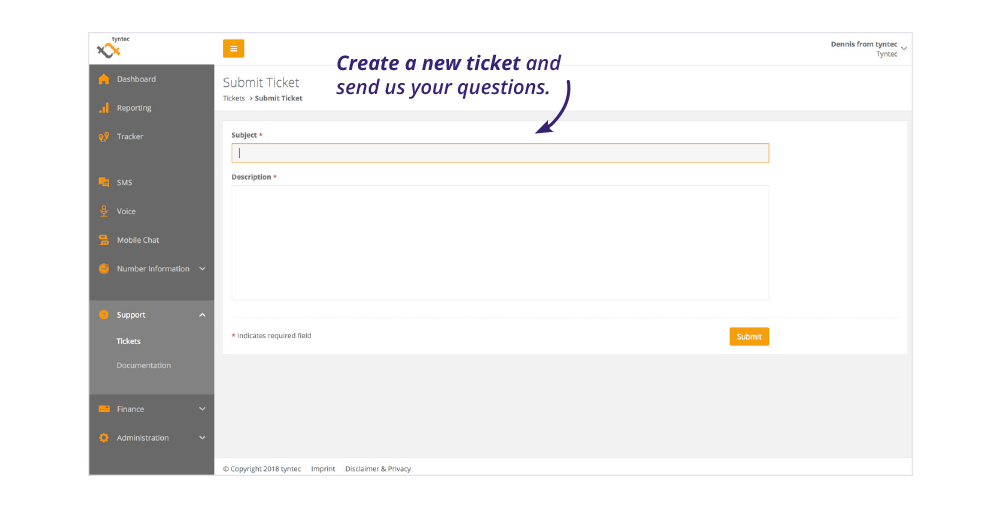 tyntec dashboard screenshot create new ticket