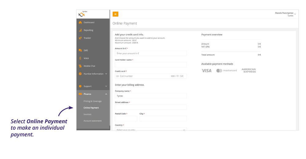tyntec dashboard screenshot online payment